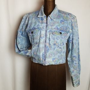 Vintage Liz Claiborne Cropped denim jean jacket MP